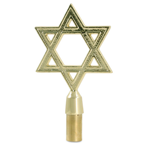 Gold Metal Star of David Flagpole Topper