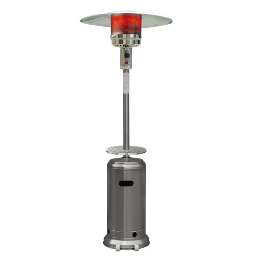 Steel Umbrella Patio Heater, 7' tall, Propane, 41,000 BTU - Stainless