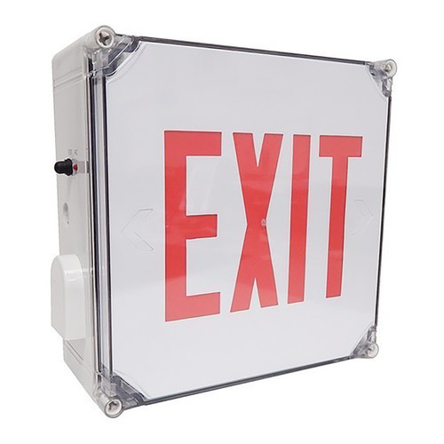 LED Exit Sign - Wet Location Rated - 120/277V and Battery Backup - Morris