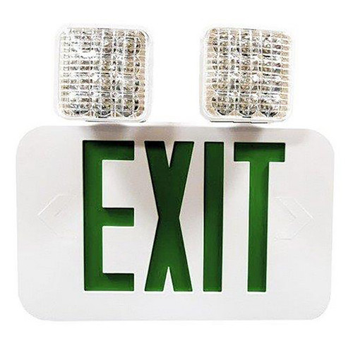 Double Side LED Combination Exit Sign - High Output - Self Diagnostic - Adjustable LED Lamp Heads - 90 Min. Emergency Operation - 120/277V - Morris