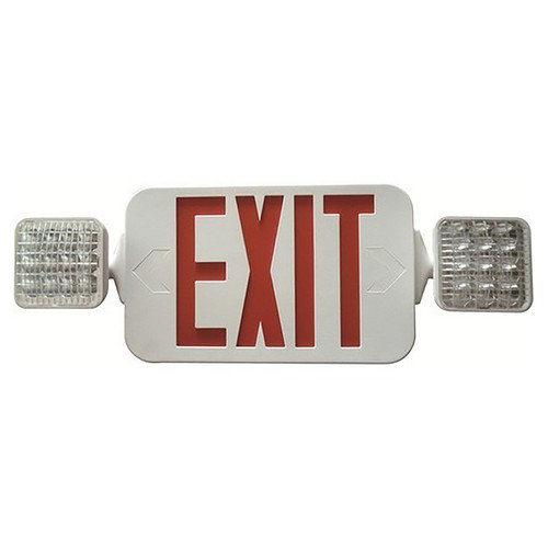 LED Remote Capable Combo Exit/Emergency Light - Morris Red LED Color/White Housing