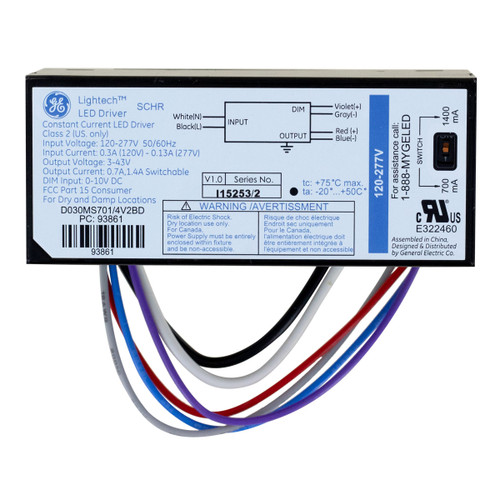 Lightech LED Driver - 30W Constant Current switchable 700mA 1400 mA 0-10v dimmable