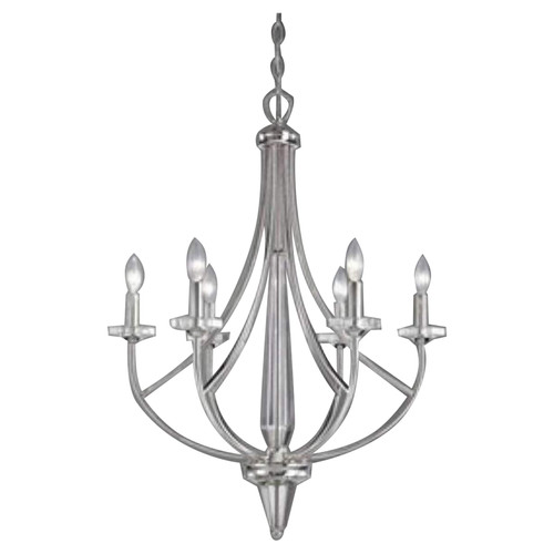 Dakar 6 Light Chandelier - Silver Plated With Clear Glass