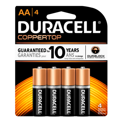 Duracell AA Size Alkaline Battery - 1.5V - 4/Pack