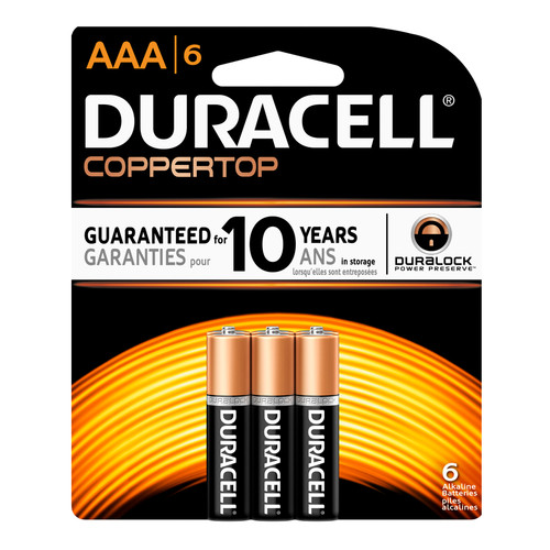 Duracell AAA Size Alkaline Battery - 1.5V - 6/Pack