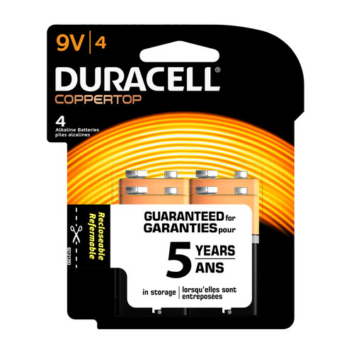 Duracell 9V Size Alkaline Battery - Reclosable Packaging - 4/Pack
