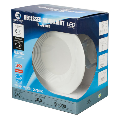 LED 6 inch Recessed Light - 10.5 Watt - Dimmable - 650 Lumens - Energetic Lighting