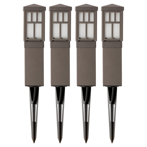 LED Low Voltage Textured Oil-Rubbed Bronze Pathway Light - 4 Pack - Transformer Included - 1.5 Watt - 100 Lumens - 3000K - Duracell
