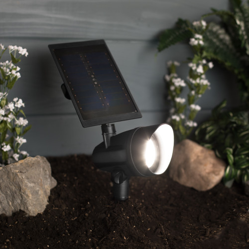 LED Solar Spot Light - Black Finish - Brightness Selector - 60 Lumens - 5000K - Duracell