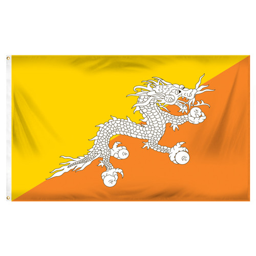 Bhutan Flag 3ft x 5ft Printed Polyester
