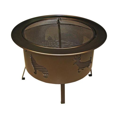 """30"""" Round Wood Burning Fire Pit Wildlife Pattern - Bronze"""