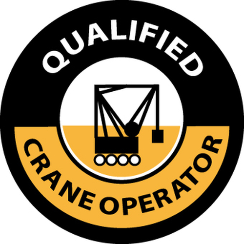 "Qualified Crane Operator, 2"", Pressure Sensitive Vinyl Hard Hat Emblem, 25 per Pack"