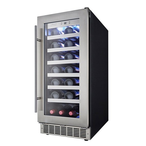 34 Bottle Wine Cooler - LowE Tempered Glass - Black / Stainless