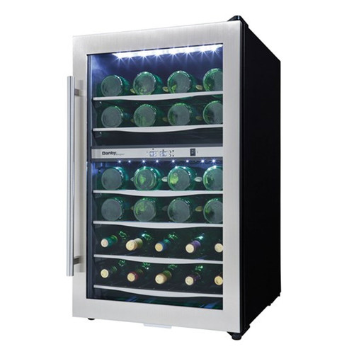 38 Bottle Wine Cooler - Reversible Tempered Glass Door - Black / Stainless