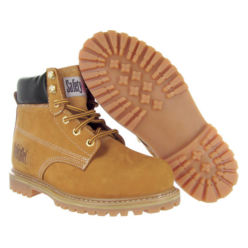 Steel Toe Work Boots - Safety Girl - Tan