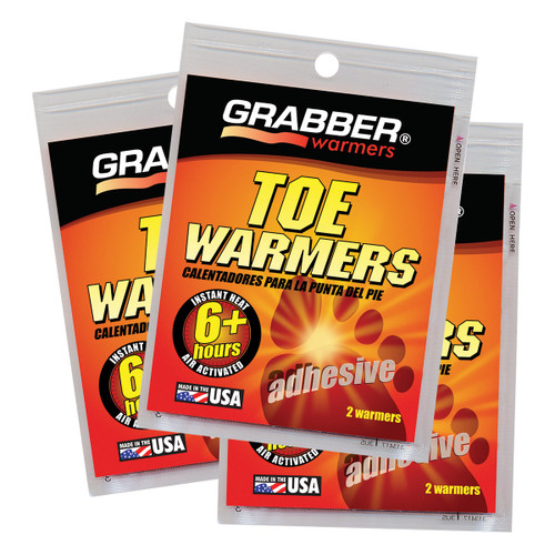 Grabber Toe Warmers with Adehesive - 3 Pair/Pack
