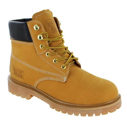 Rugged Blue Original Steel Toe Work Boots - Tan