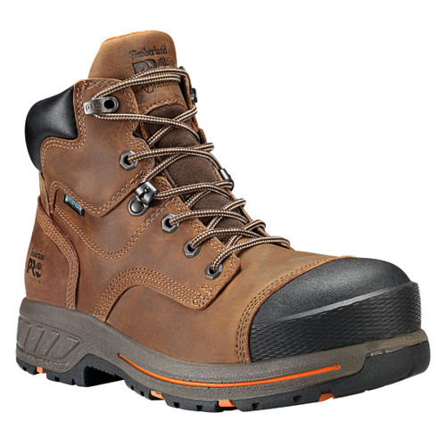 """Timberland PRO Men's 6"""" Distressed Brown Helix HD Composite Toe WP Work Boots - A1HQL214"""