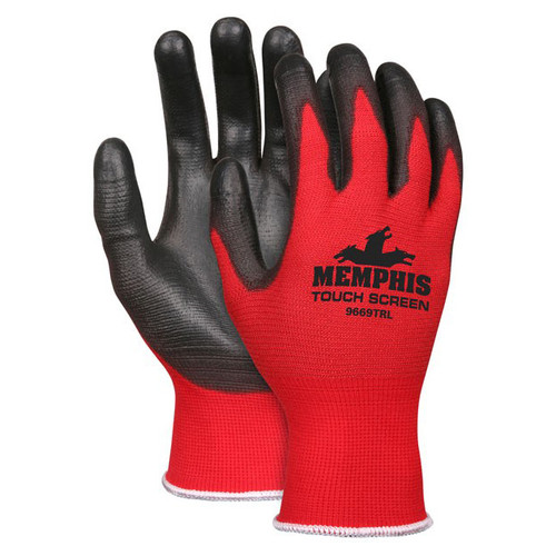 MCR Safety Memphis 9669TR Red/Black Touch Screen Polyurethane Gloves