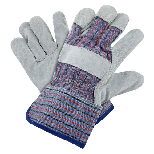 Rugged Blue Leather Palm Work Gloves