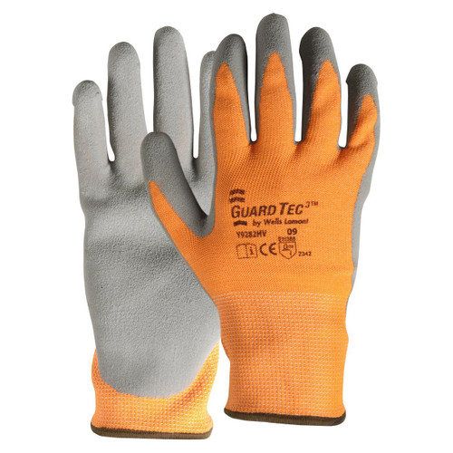 Wells Lamont Y9285HV GuardTec3 Cut 3 High-Vis Foam Latex Palm Gloves