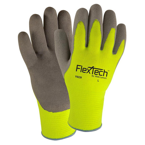 Wells Lamont FlexTech High-Vis Sandy Latex Palm Gloves - Y9239