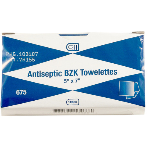 Antiseptic BZK Towelettes - 5in x 7in - 10-Pack