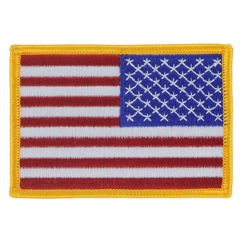 American Flag Patch - Gold Border - Right Star Field