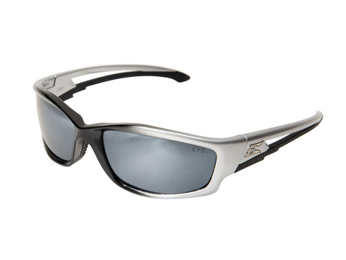 Edge Kazbek Safety Glasses with Black Frame and Silver Mirror Lens