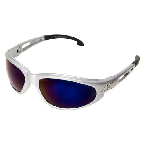 Edge Dakura Safety Glasses with Silver Frame - Blue Mirror Lens