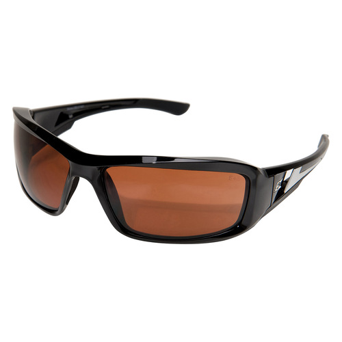 Edge Brazeau Safety Glasses with Black Frame - Copper Lens