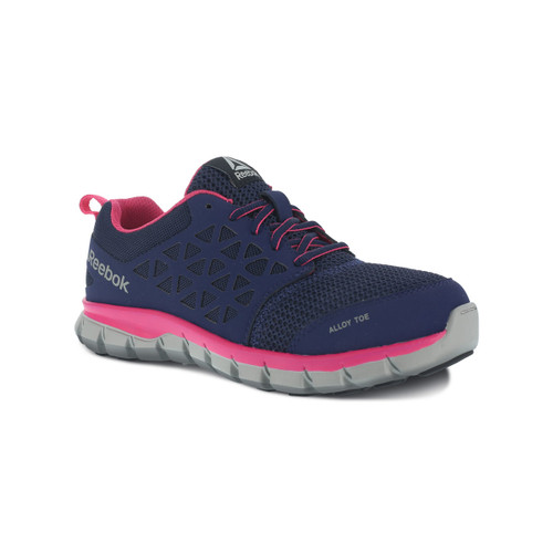 Reebok Women's Sublite Alloy Toe Navy and Pink Athletic Work Shoe RB046