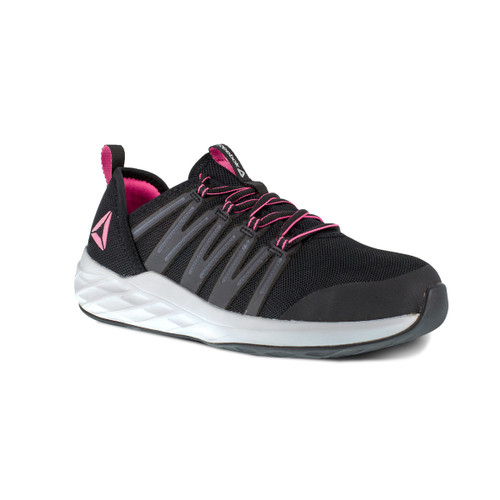 Reebok Women's Astroride Work Steel Toe Black/Pink Athletic Work Shoe RB307
