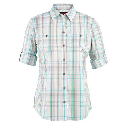 Wolverine Women's Sidney Roll-Sleeve Shirt-Aqua Plaid