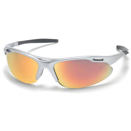 Pyramex Avante Silver Frame Safety Glasses w/ Ice Orange Lens