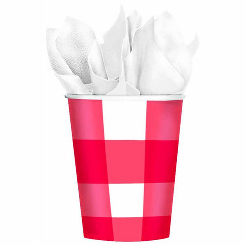 Red Gingham Paper Cups - 9 oz. - Package of 8
