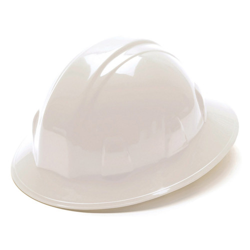 Pyramex Safety SL Series 6-Point Ratchet White Full Brim Hard Hat - HP26110