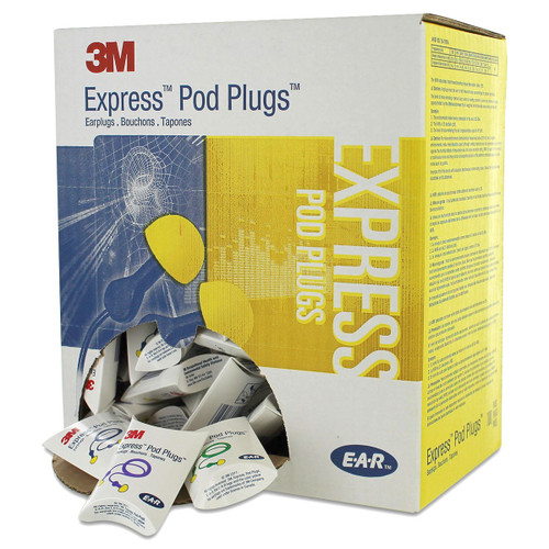 3M E-A-R Express Pod Plugs Corded Earplugs - 100 pairs