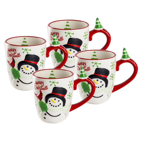 Snowman & Cardinal Ceramic Mugs - Set of 4