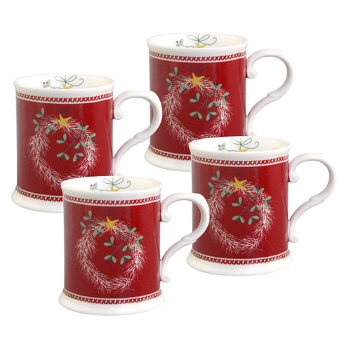 Pine Wreath Chocolate Mugs - Set of 4