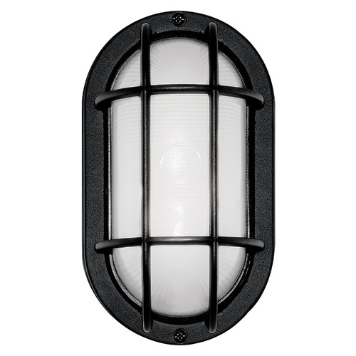 LED Black Bulkhead Outdoor Wall Light - Aluminum Bezel & Ribbed Glass Lens - Euri Lighting