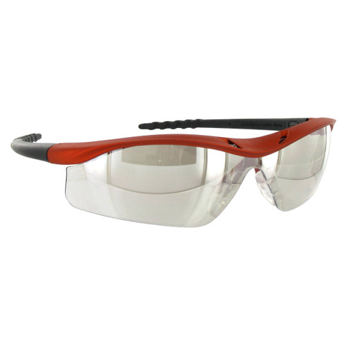 Crews Dallas Safety Glasses with Orange Frame and Clear Mirror Indoor/Outdoor Anti-Fog Lens