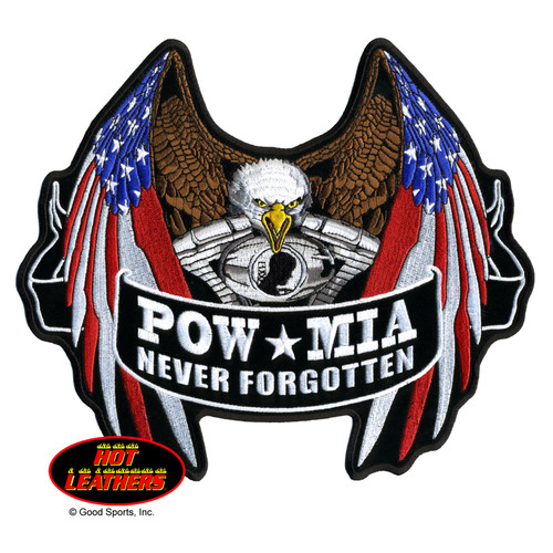 Hot Leathers Patches POW MIA Never Forgotten Flag Eagle Patch