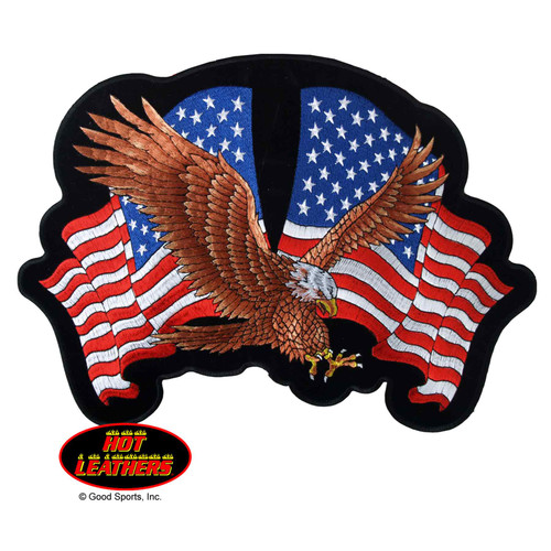 Hot Leathers Patches Eagle Two Flags Patch