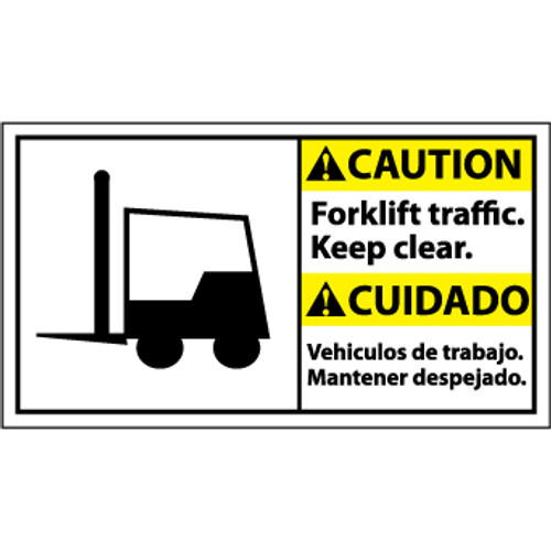 Caution, Forklift Traffic Keep, Bilingual with Graphic, 10x18, Rigid Plastic Sign