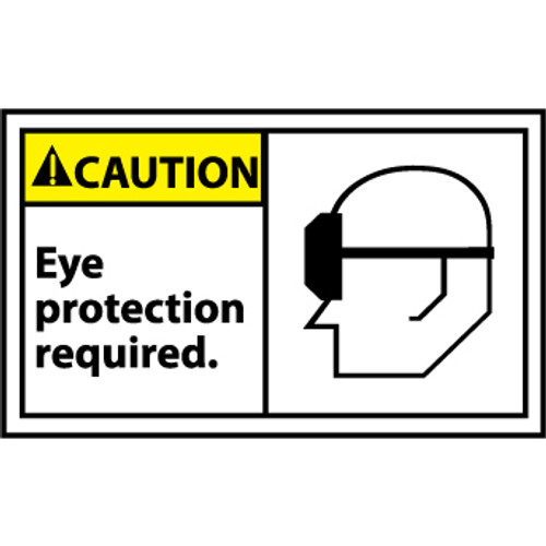 Caution Eye Protection Required Graphic 3x5 Pressure Sensitive Vinyl Safety Label 5 Per Package