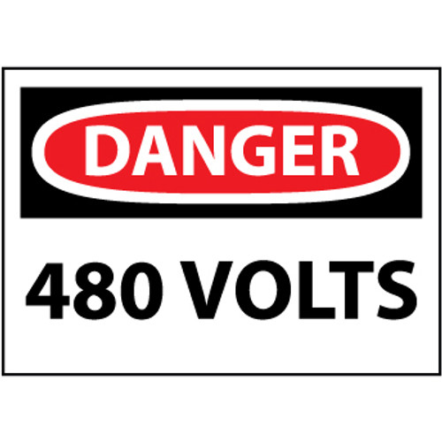 Danger 480 Volts 3x5 Pressure Sensitive Vinyl Safety Label 5 Per Package