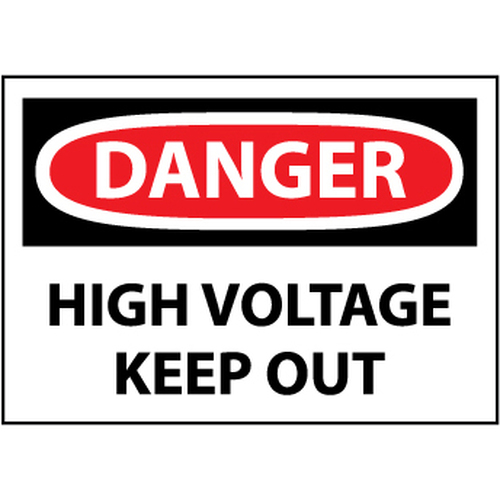 Danger High Voltage Keep Out, 10x14 Rigid Plastic Sign