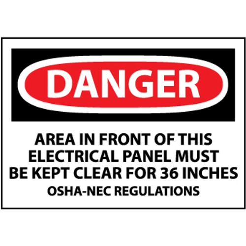 Danger Area In Front Of This Electrical Panel Must Be Kept Clear For 36 Inches OSHA-NEC Regulations 3x5 Pressure Sensitive Vinyl Safety Label 5 Per Package