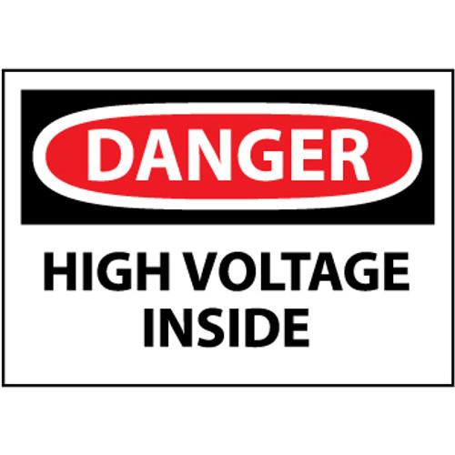 Danger High Voltage Inside 3x5 Pressure Sensitive Vinyl Safety Label 5 Per Package